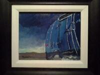 Airstream in the desert, original oil painting
