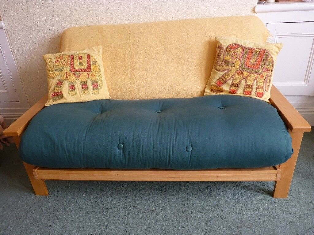Two Seater Futon Sofa Bed With Solid Pine Wood Base