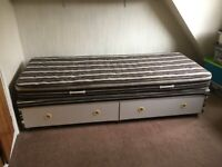 """2' 6"""" Single bed. Mattress and divan base with two drawers"""
