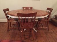 Extendable pine table and chairs (free local delivery)