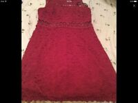Dark red size 12 net dress worn once only looks brand new from new look is £28