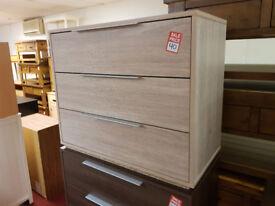 bergen 3 drawer chest oak