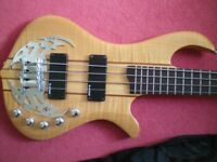 Rare Traben four string through neck bass guitar. Active pickups model, full scale electric, ornate.
