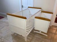 Cot Bed Deluxe & Gliding Crib (Disney Winnie the Pooh) – White with Country Pine trim.