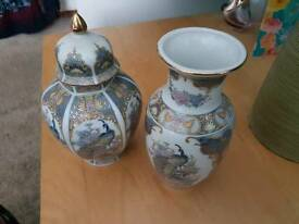 Japanese vase and ginger jar