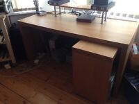 Malm IKEA desk with pull-out panel and desktop shelf