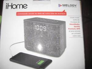 iHome iBT232 Bluetooth Dual Alarm FM Radio Clock / Speaker Mic. USB Charger Port. Melody Voice Power. Music Assistant