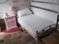 MODERN SINGLE METAL BED, PINK, WITH MATTRESS. DISMANTLES. VIEWING/DELIVERY AVAILABLE