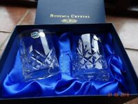 Matching Bohemia hand cut CrystalDecanter and whiskey tumblers
