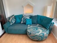 Sofa | Large 4 Seater Lounger Fabric Silver & Teal | Scatter Cushions