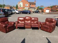 Brown leather reclining settee and 2 chairs.