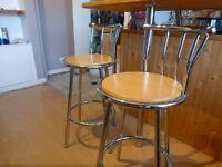 Ikea Chrome & Wood Bar Stools x2