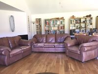 Large, leather 3-piece suite.