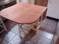 Gate Leg shabby chic dining table, newly refurbished with cream painted legs & dark waxed table top