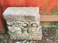 2 heavy concrete garden pillars