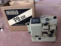 Eumig cine film projector and screen