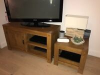 Solid oak TV cabinet and side table