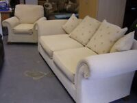 Cream Fabric 3 Seater Sofa Settee and Armchair. 2 Piece Suite