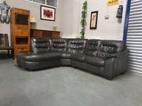 Dark brown leather corner sofa free delivery