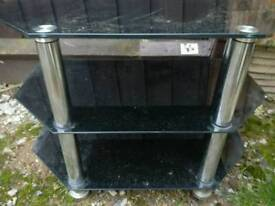 TV stand smoked glass black with chrome legs immaculate condition