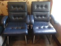 2 Blue Comfortable Leather With Metal Frame Office & Home Study Chairs - Very Good Condition