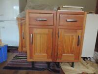 2 pine kitchen base units