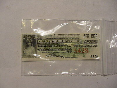 NEW YORK CENTRAL  (RAILROAD) COMPANY STOCK CERTIFICATE COUPON  (GREEN)