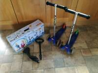 2 x mini micro scooters with 1x seat