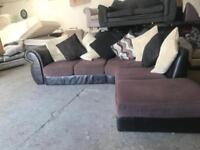 Fantastic brown leather sofa with fabric cushions