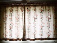 Cream Curtains with Dusky Pink Flowers