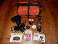 Pentax MV Film Camera, 50mm lens, electronic flash & accessories