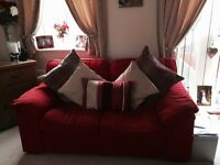 Red 2 and 3 seater sofa from Harveys
