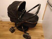 Mothercare Orb Pram & Pushchair (black) includes cosy toes & car seat adaptors