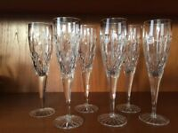 Set of 6 Stunning Crystal Royal Brierley Regent / Winchester Tall Champagne Flutes / Glasses