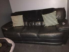 Black leather 3 seater, 2 seater and pouffe