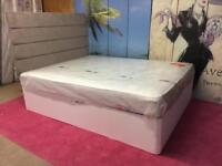 Kingsize 5ft white Leather bed frame with Headboard and Mattress