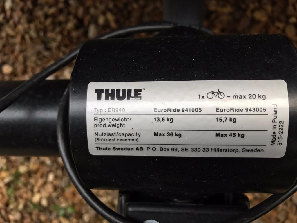 Nearly new Thule Euroride 941 two bike bike rackin Milnthorpe, CumbriaGumtree - Light weight two bike, bike rack, perfect for road bikes. Hardly used and in mint condition, £290 new Hand operated tilt for boot access even with bikes mounted. Quick mounting handle attaches carrier to tow ball with only a few turns. Movable wheel...