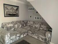 Large crushed velvet silver/ grey corner sofa from the designer rooms