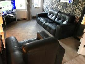 'Incanto' Black Leather 3 Seater Sofa & Chair