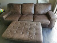 100% Leather Sofa and Footstool for QUICK sale