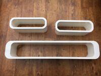 Set of 3 white gloss floating shelves