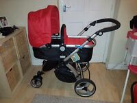Little devils 3 in 1 pushchair with car seat and raincover