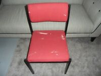 CHAIR - covered in Red Material - sturdy, comfy and hard wearing - EASILY RECOVERED...