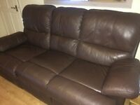 Brown leather 3 seat recliner sofa