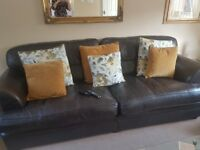 4 seater and 2 seater leather sofas