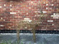 Light Up, Metal-Framed, Wicker Gold Glittered Reindeer with Moving Head