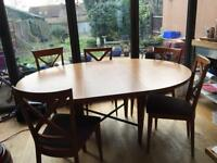Large Lignet Roset dining table & 8 chairs