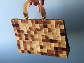 One of a kind small handbag/ clutch, tiled buffalo horn. Fully lined, with internal slip pocket,