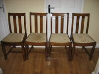 4 OAK DINING OR BEDROOM CHAIRS JUST UPHOLSTERED