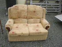 MODERN ORNATE LIGHT PEACH 2 SEATER SOFA. IN GOOD ORDER. COMFORTABLE. VIEWING/DELIVERY AVAILABLE